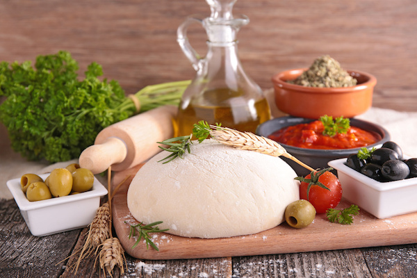 dough pizza and ingredient