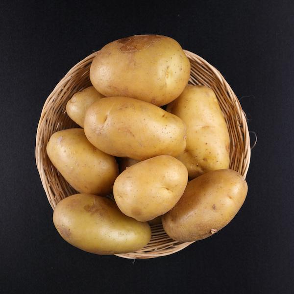 Top view Potatoes on basket
